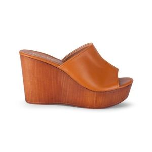 Wanted London Slip-On Wedge Sandals Tan